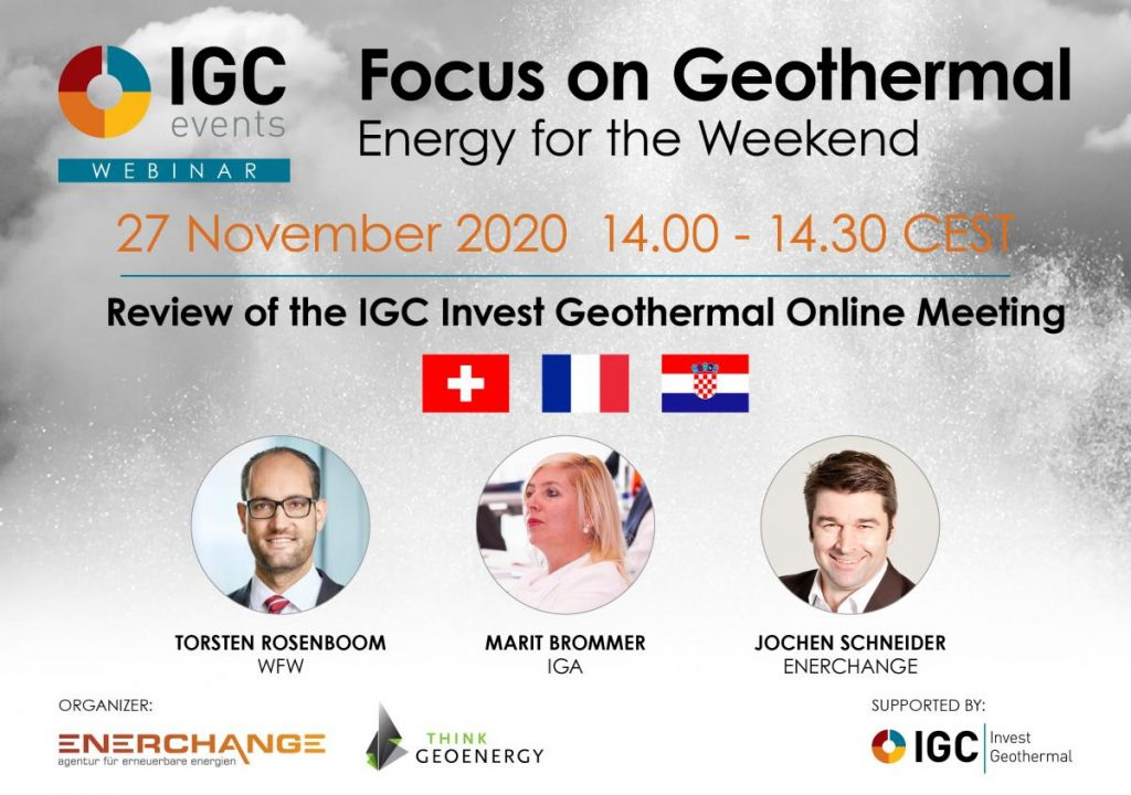 Join for a review of IGC Invest Geothermal Online Meeting – 27 Nov. 2020