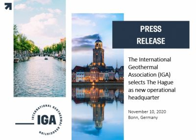 International Geothermal Association (IGA) moves headquarter to The Hague, Netherlands