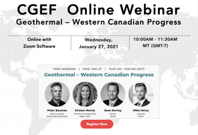 Webinar – Geothermal and its progress in Western Canada, Jan 27, 2021