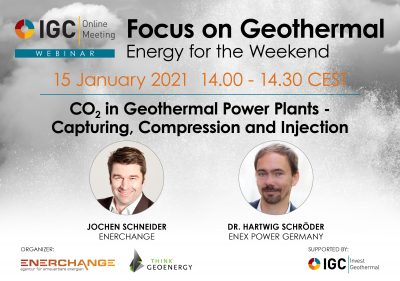 Webinar – CO2 in Geothermal Power Plants – capturing, compression, injection – Jan 15, 2021