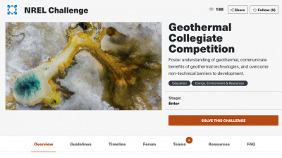 U.S. DOE Geothermal Technogies Office/ NREL launch Geothermal Collegiate Competition