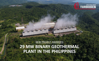Turboden to supply ORC geothermal plant for EDC's 29 MW Palayan Bayan expansion