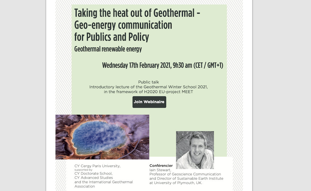 Webinar – Geo-energy communication for publics and policy, Feb. 17, 2021