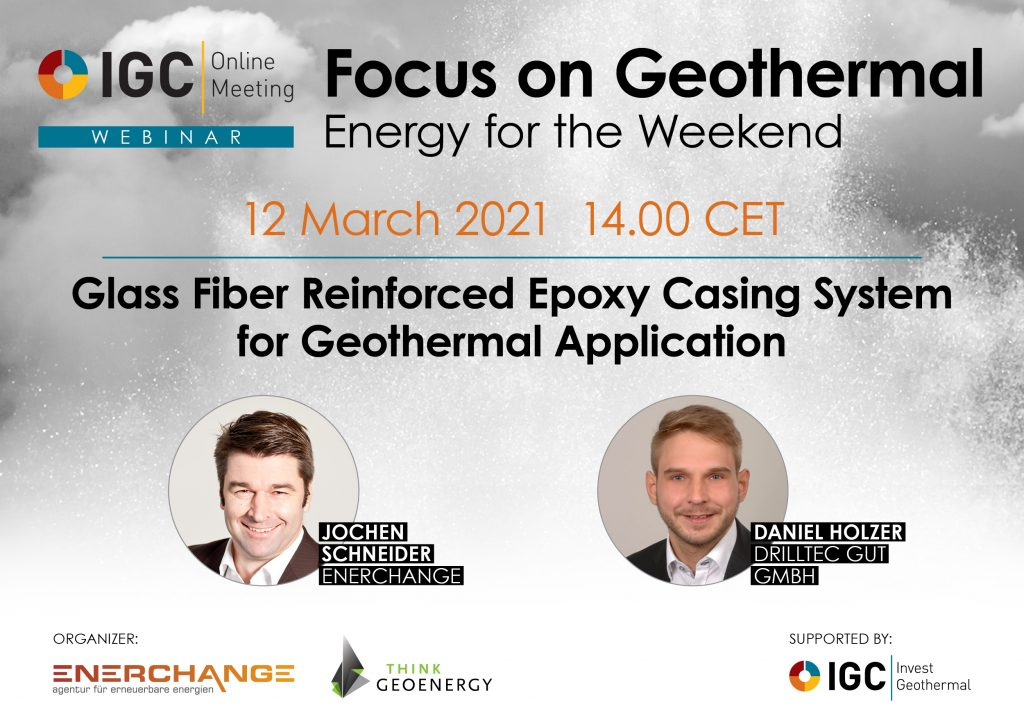 Webinar – Reinforced Epoxy Casing Systems for geothermal, March 12, 2021