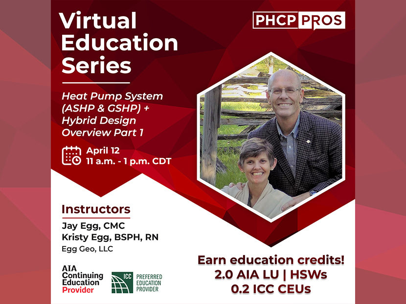 Online course on heat pump systems with Jay Egg, April 12, 2021