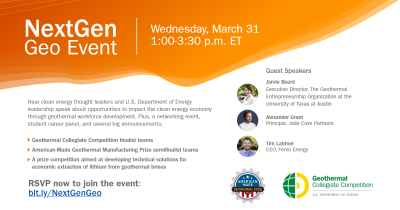 Webinar – NextGen Geo, technologies, jobs in geothermal, March 31, 2021