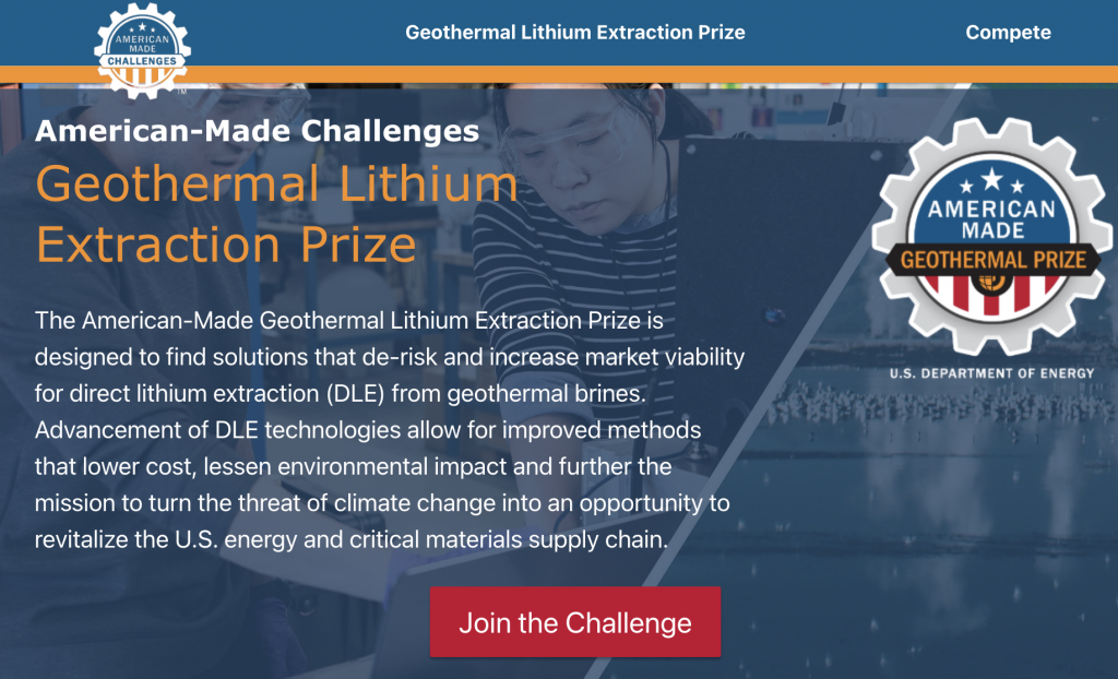 U.S. DOE launches Geothermal Lithium Extraction Prize