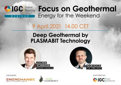 Webinar – Deep Geothermal by PLASMABIT Technology, April 9, 2021