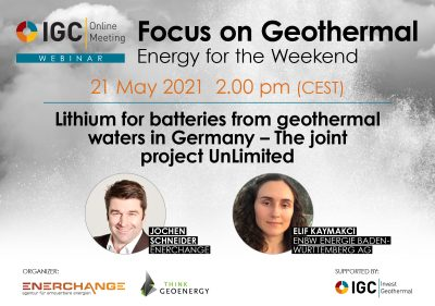Webinar – Lithium from geothermal in Germany, May 21, 2021