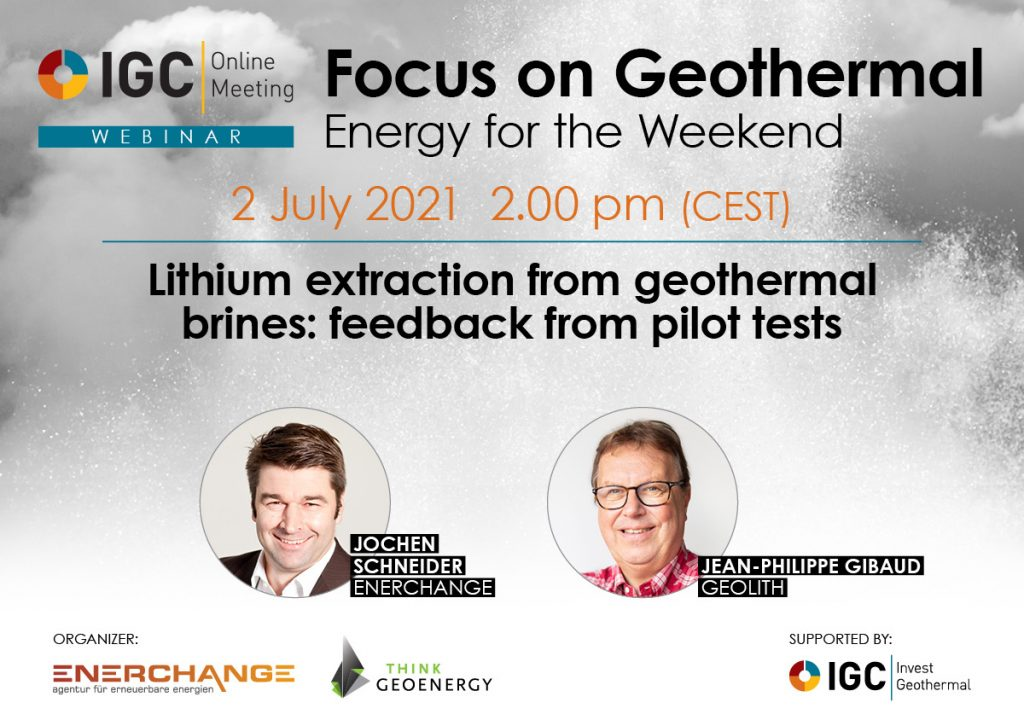 Webinar – GeoLith, tests of geothermal lithium extraction, July 2, 2021