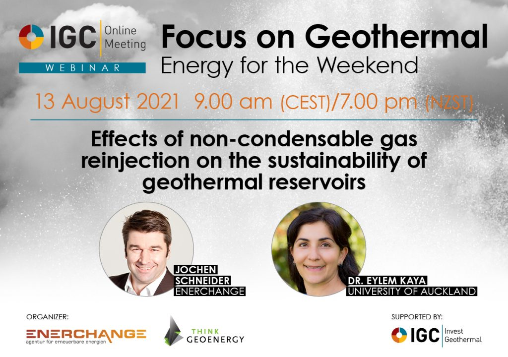 Webinar – NCG reinjection and reservoir sustainability, Aug. 13, 2021
