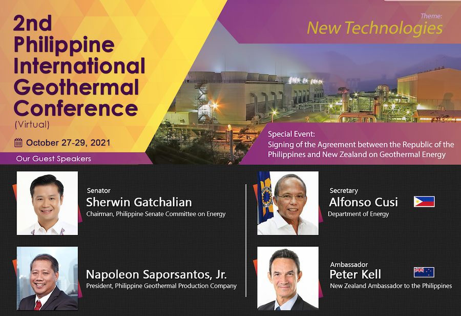 2nd Philippines Int'l Geothermal Conference, Oct 27-29, 2021