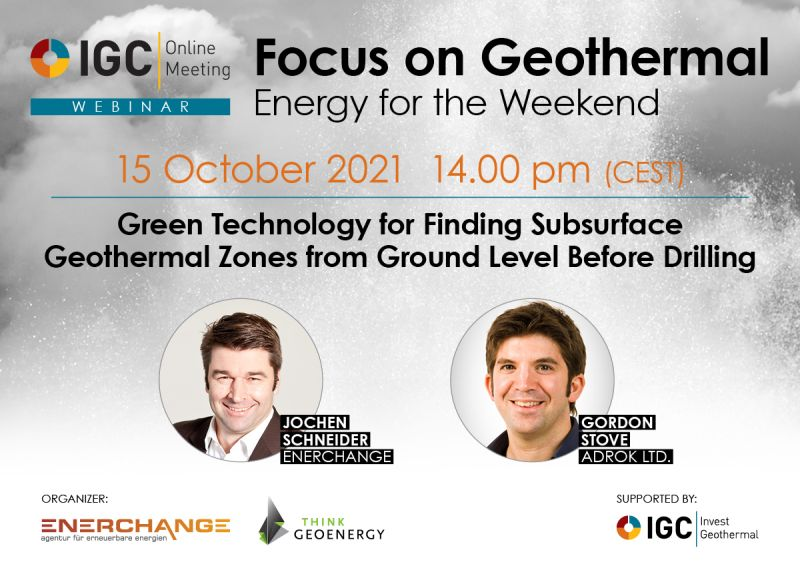 Webinar – Technology to find geothermal zones before drilling, Oct. 15, 2021