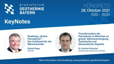 Can geothermal deliver? Praxisforum Geothermie.Bayern – Oct. 27-29, 2021